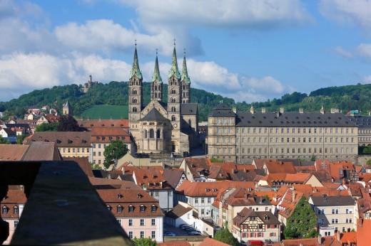 Stock Photo: 1566-738095 Dom mit Residenz von Osten, Karmelitenkirche, Altenburg, Blick vom Turm der Martinskirche, Bamberg