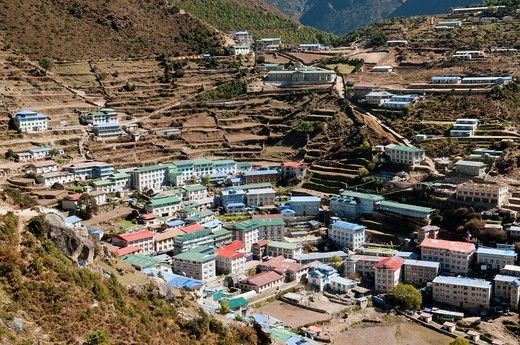 Stock Photo: 1566-738724 view of Namche Bazaar in the Everest Region of Nepal