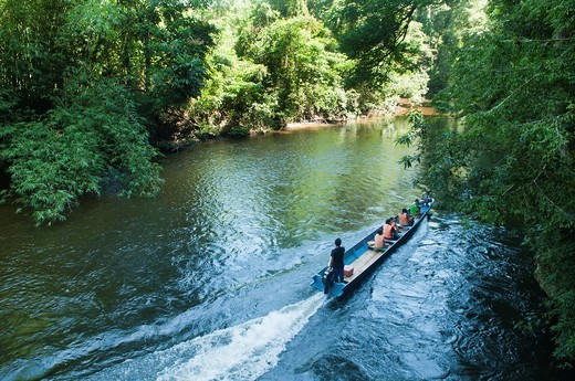 Stock Photo: 1566-738952 boat on the Melinau River in Mulu National Park in Sarawak, Borneo, Malaysia