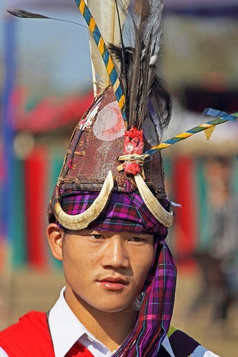 Stock Photo: 1566-739119 Tangsa Man, Lungchang Tribe at Namdapha Eco Cultural Festival, Miao, Arunachal Pradesh, India