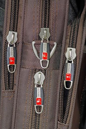 Close-up of bag zips : Stock Photo