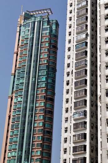 Hong Kong: apartment buildings in Abardeen : Stock Photo