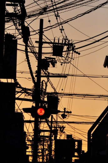 Kyoto (Japan): electric wires mess in the city centre : Stock Photo