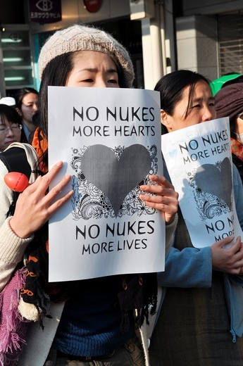 Stock Photo: 1566-741548 Kyoto (Japan): people protesting against the nuclear plants, after the Fukushima disaster, in the city center