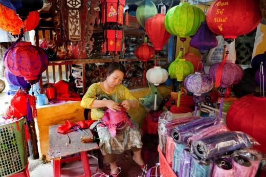 Stock Photo: 1566-741661 Lantern Making Shop, Hoi An, Vietnam