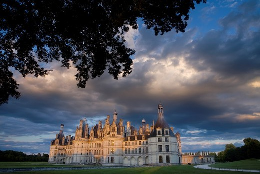 Stock Photo: 1566-741756 Sunset  Chambord castle in Loire Valley listed as World Heritage by UNESCO  France