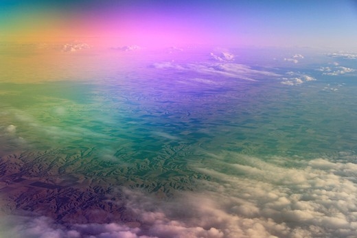 image taken from plane above midwest farming land. : Stock Photo