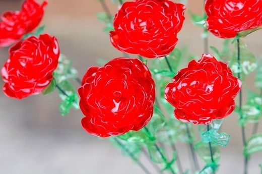 Flowers Made From Plastic Bottles Recycled Platic : Stock Photo