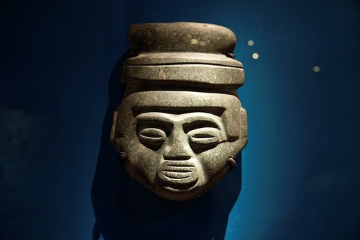 Prehispanic stone objects at Templo Mayor Museum, Mexico City : Stock Photo