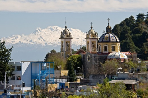 Stock Photo: 1566-744135 A church and Iztlaccihuatl mountain view