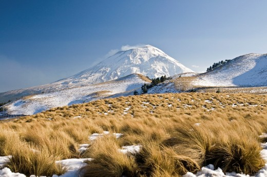 Stock Photo: 1566-744182 View of the Popocatepetl volcano with snow in the foreground