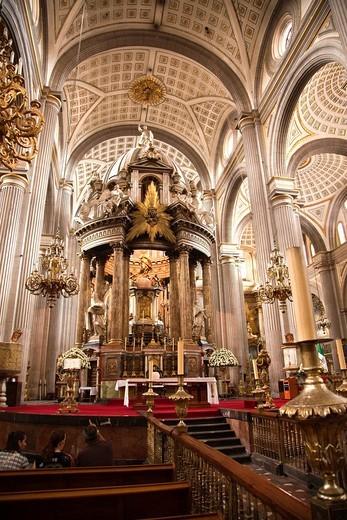 Interior Details at Nuestra Señora de la Inmaculada Concepción Cathedral, Puebla, Mexico : Stock Photo
