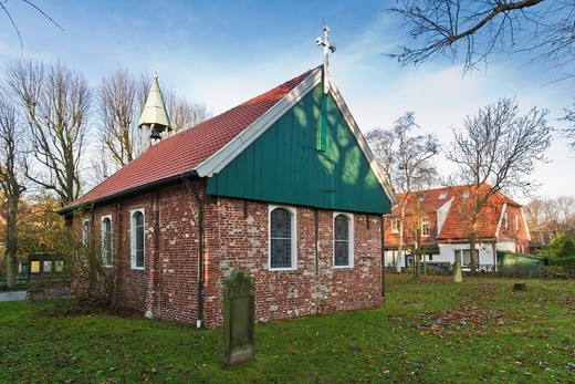 Stock Photo: 1566-744335 The old island church on the east frisian island of Spiekeroog, Lower Saxony, Germany, Europe