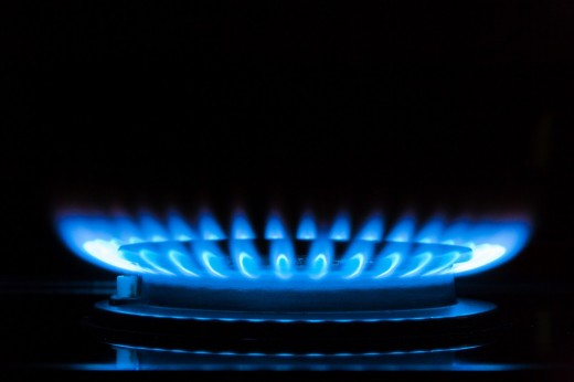 Close up of a gas flame, Germany, Europe : Stock Photo
