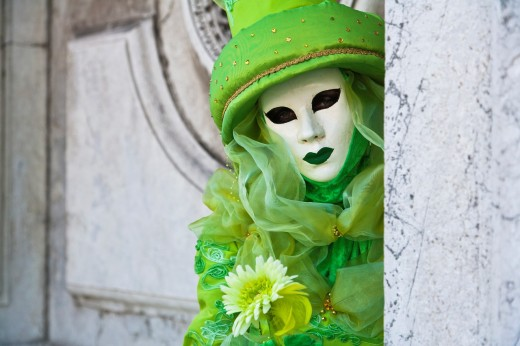 Stock Photo: 1566-744807 A masked woman at the carnival in Venice, Italy, Europe