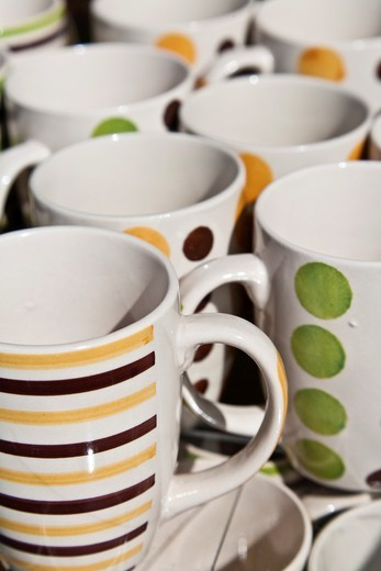 Close up of lots of coffee mugs : Stock Photo