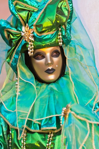 Stock Photo: 1566-744977 A masked woman at the carnival in Venice, Italy, Europe