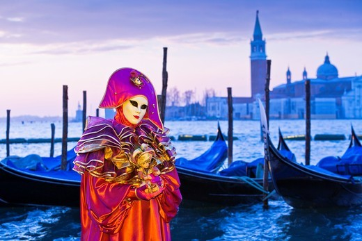 A masked harlequin at the carnival in Venice, Italy, Europe : Stock Photo