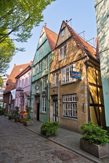 Colorful buildings in the historic Schnoor quarter, Bremen, Germany, Europe : Stock Photo