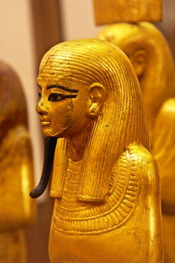 Statue of Duamutef, Duamutef, one of the four sons of Horus. Duamutef was typically shown with a jackal´s head and was responsible for the protection of the stomach, Funeral statue of Tutankhamen, Egyptian museum, Cairo, Egypt : Stock Photo