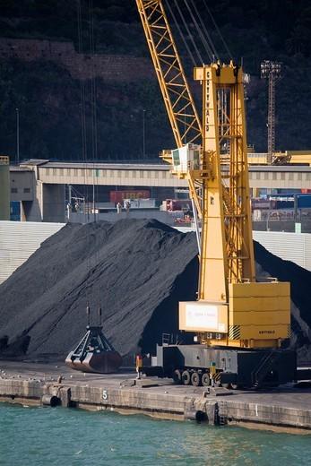 Coal on dock in Port of Barcelona, Catalonia, Spain, Europe : Stock Photo