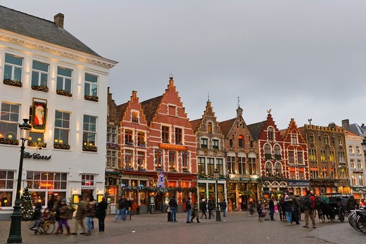 The Markt, Market Square, Bruges, Brugge, West Flanders, Flemish Region, Belgium, Winter. : Stock Photo