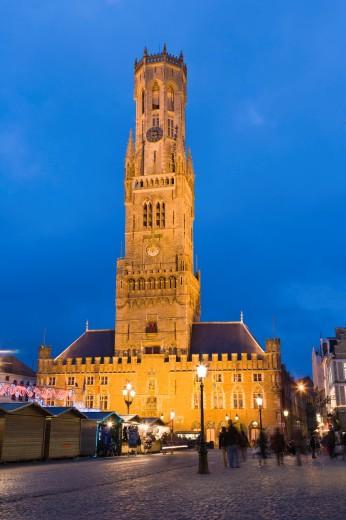 The Belfry of Bruges, Belfort, Bell Tower, The Markt, Market Square, Bruges, Brugge, West Flanders, Flemish Region, Belgium, Winter. : Stock Photo
