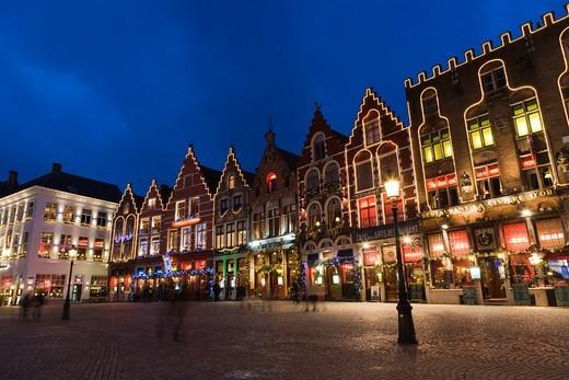The Markt, Market Square, Bruges, Brugge, West Flanders, Flemish Region, Belgium, Winter. : Stock Photo