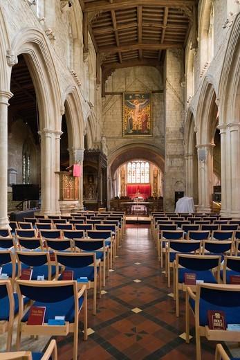 Interior of the Church of England parish church of Saint John the Baptist, Burford, Cotswolds, West Oxfordshire, England, UK : Stock Photo