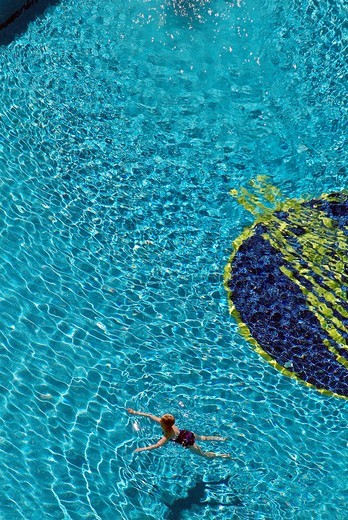 Swimming pool, Hotel, Benidorm, Costa Blanca, Alicante, Valencia, Spain, Europe : Stock Photo