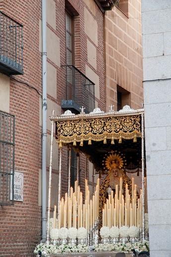 Stock Photo: 1566-746933 María Santísma Inmaculada during the Holy Week procession, Cordón Street. Madrid, Spain.