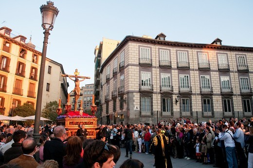 Christ of Faith and Forgiveness during the Holy Week procession, Plaza de Ramales. Madrid, Spain. : Stock Photo
