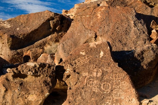 Chidago Petroglyphs, Fish Slough Area of Critical Environmental Concern, Bishop District Bureau of Land Management, CA : Stock Photo