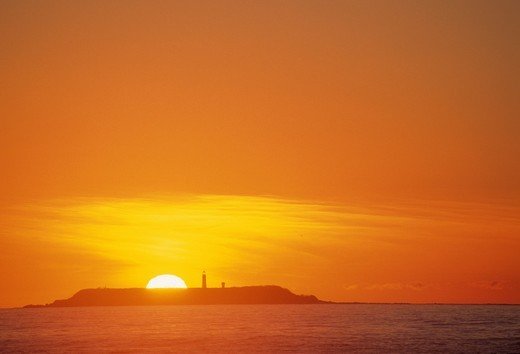 Sunset over Destruction Island and Lighthouse, Olympic National Park, WA : Stock Photo