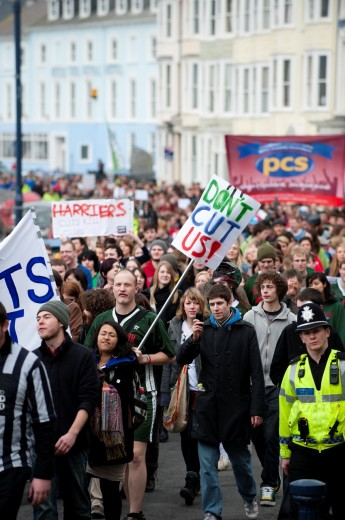 Aberystwyth University students demonstrating in the town against the cuts in higher education funding in Wales Feb 22 2011 : Stock Photo