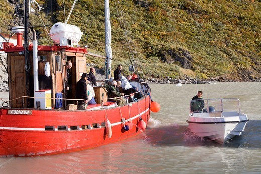 Tourist boat, Narsarsuaq harbour, South Greenland : Stock Photo