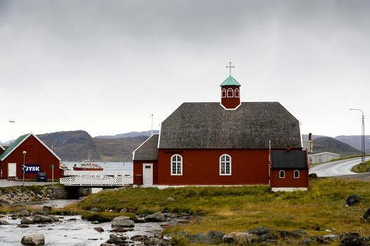 Frelserens Kirke built in 1832, which is known as the Church of Our Saviour  Qaqortoq Julianehåb, South Greenland : Stock Photo