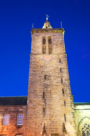 St Salvators College Chapel Tower at Dusk St Andrews Fife Scotland : Stock Photo