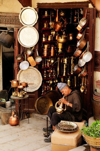 Brassmaker at Place as Seffarine, Fez, Morocco : Stock Photo