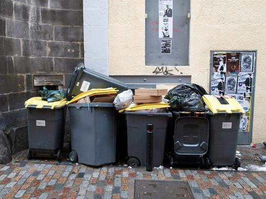 Trash cans in a street : Stock Photo