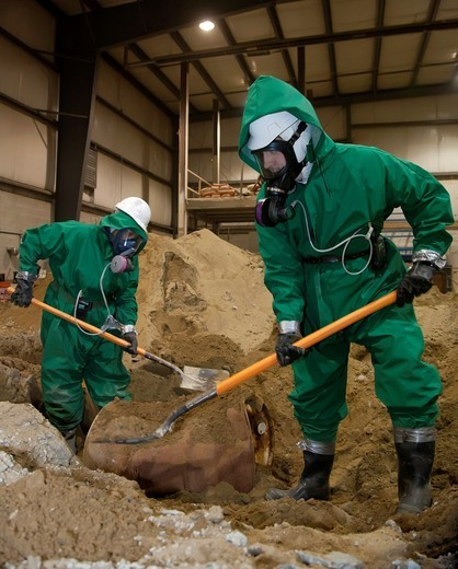 Wayne, Michigan - Job Corps trainees learn how to clean up hazardous materials at the Michigan Laborers´ Training and Apprenticeship Institute  Job Corps is a free job training program for low-income youth run by the U S  Department of Labor : Stock Photo