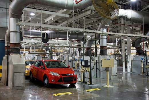 Stock Photo: 1566-752749 Wayne, Michigan - The 2012 Ford Focus at Ford Motor Co ´s Michigan Assembly Plant  Here, finished cars undergo dynamometer testing, the ducts carry away exhaust gasses