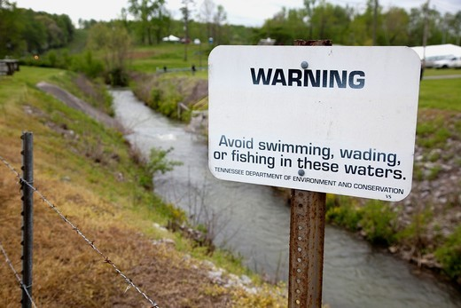 Oak Ridge, Tennessee - A contaminated creek just inside the boundary of the Y-12 National Security Complex, which produces materials for nuclear weapons  The complex is listed as an EPA Superfund site due to extensive water and soil contamination : Stock Photo
