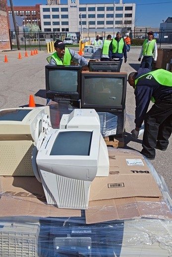 Detroit, Michigan - Electronics waste is collected for recycling at Wayne State University : Stock Photo