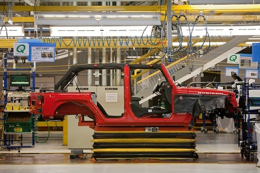 Stock Photo: 1566-753234 Toledo, Ohio - A partially-finished Jeep Rubicon on the assembly line at Chrysler´s Toledo Supplier Park