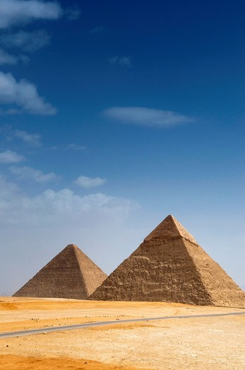 Stock Photo: 1566-753513 Pyramids at Giza Egypt Great Pyramid of Giza, and the Pyramid of Khafre
