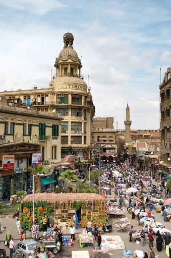 Aerial view of a typical neighbourhood souk in Cairo Egypt : Stock Photo