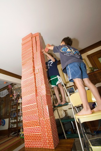 Children building a tower with blocks  St Paul Minnesota MN USA : Stock Photo