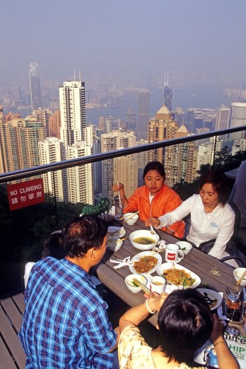 Stock Photo: 1566-754620 terrace on Victoria Peak, looking over Central district, Hong-Kong Island, People´s Republic of China, Asia
