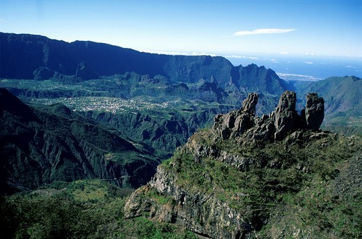 Stock Photo: 1566-754857 rocky peaks the Trois Salazes Reunion island, overseas departement of France, Indian Ocean